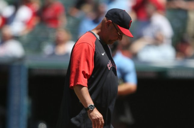 Cleveland Indians manager Terry Francona, shown June 17, 2021, managed just 14 games in the 2020 season because of a serious gastrointestinal issue. File Photo by Aaron Josefczyk/UPI