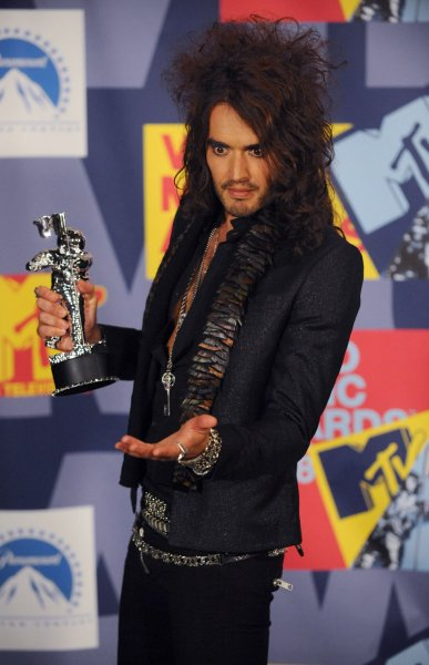 British comedian Russell Brand, who hosted the 2008 MTV Video Music Awards appears backstage in Los Angeles on September 7, 2008. (UPI Photo/Jim Ruymen)