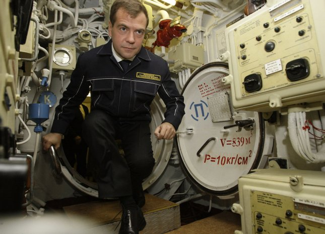 Russian President Dmitry Medvedev, wearing a NAVY uniform, visits the 'St. George the Victor' nuclear powered submarine at the Russian Pacific Fleet submarine base at Krasheninnikov Harbor on the Kamchatka Peninsula in the Russian Far East. (UPI Photo/Anatoli Zhdanov)