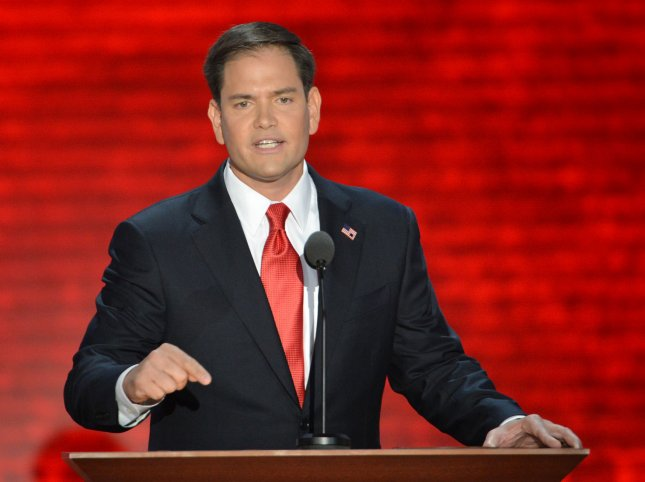 U.S. Sen. Marco Rubio, R-Fla., speaks at the 2012 Republican National Convention in Tampa. Fla., Aug. 30, 2012. UPI/Kevin Dietsch