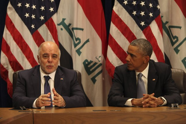 Iraqi Prime Minister Haidar al-Abadi and U.S. President Barack Obama make comments during a bi-lateral meeting at the United Nations in New York on September 24, 2014. File Photo by UPI/Alan Tannenbaum.
