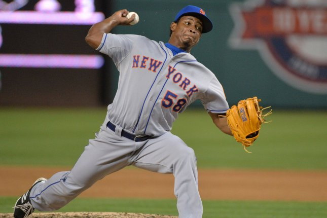 New York Mets relief pitcher Jenrry Mejia (58) pitches in the seventh inning against the Washington Nationals at Nationals Park in Washington, D.C. on July 21, 2105. Photo by Kevin Dietsch/UPI