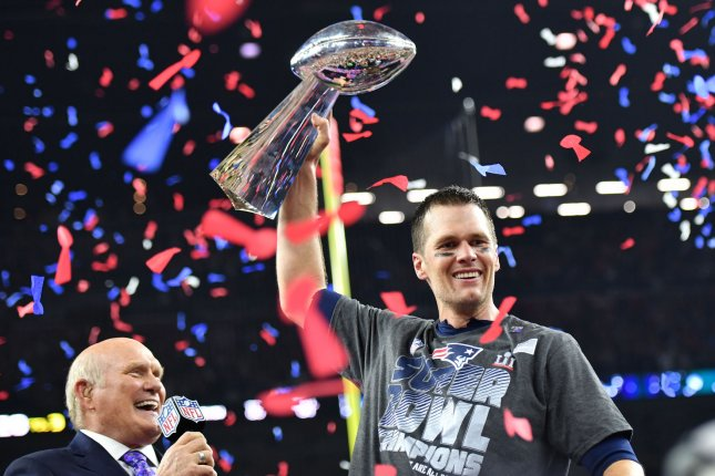 New England Patriots quarterback Tom Brady lifts the Vince Lombardi Trophy after defeating the Atlanta Falcons in Super Bowl LI at NRG Stadium in Houston on February 5, 2017. File photo by Kevin Dietsch/UPI