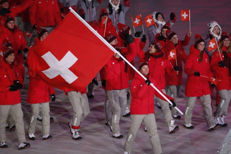 Athletes from Switzerland walk into the stadium during the opening ceremony at the Pyeongchang 2018 Winter Olympics on February 9 at the Olympic Stadium in Daegwalnyeong, South Korea. Photo by Matt Healey/UPI