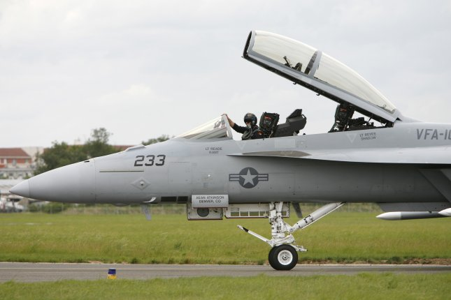 A Boeing F/A-18E/F Super Hornet taxis before takeoff during a demonstration at the 47th International Paris Air Show at Le Bourget near Paris on June 21, 2007. Photo by David Silpa/UPI