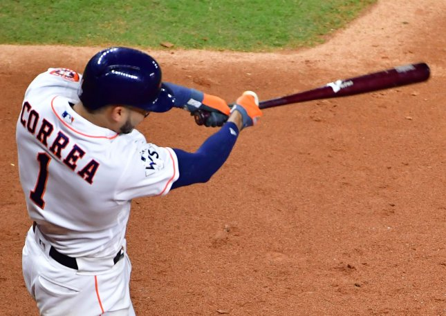 Carlos Correa and the Houston Astros face the Seattle Mariners on Friday. Photo by Kevin Dietsch/UPI