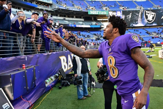 Baltimore Ravens quarterback Lamar Jackson (8) greets fans after an NFL game against the Oakland Raiders on Sunday at M&T Bank Stadium in Baltimore. Photo by David Tulis/UPI