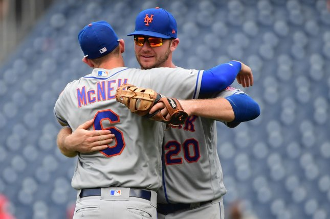 New York Mets left fielder Jeff McNeil (6) hit two home runs in a 9-0 win against the Arizona Diamondbacks Wednesday at Citi Field in Queens. Photo by Kevin Dietsch/UPI