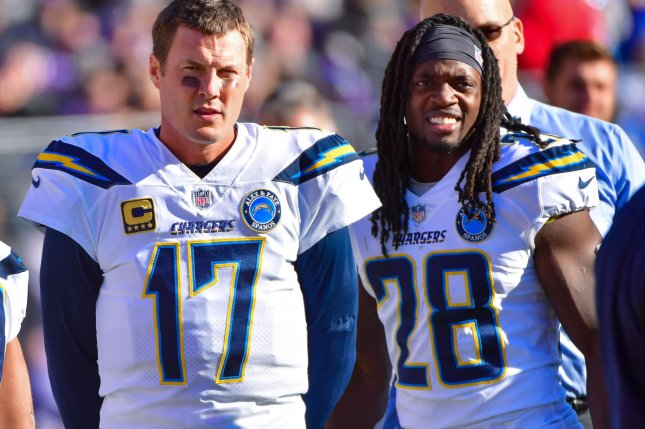 Los Angeles Chargers running back Melvin Gordon (R) had a career-high 14 touchdowns in 12 starts in 2018. File Photo by Kevin Dietsch/UPI
