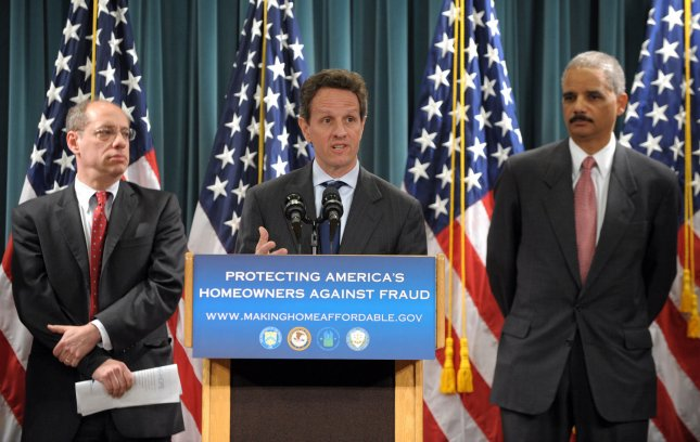 Treasury Secretary Timothy Geithner speaks during a news conference announcing federal and state plans to combat criminals looking to defraud people benefiting from the Obama administration's Making Home Affordable program at the Treasury Department in Washington on April 6, 2009. With him are Attorney General Eric Holder (R) and Federal Trade Commission Chairman Jon Leibowitz. (UPI Photo/Roger L. Wollenberg)
