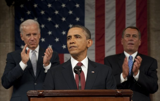 President Barack Obama speaks during his State of the Union address in fornt of a joint session of Congress on January 24, 2012 on Capitol Hill in Washington, DC. Vice President Joe Biden and Speaker John Boehner (R) look on. UPI/Saul Loeb/Pool