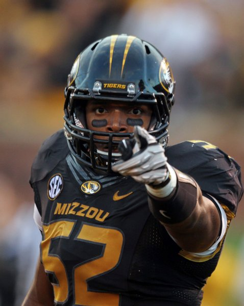 Former Missouri Tigers defensive end Michael Sam, shown in this Sept. 15, 2012 file photo at Faurot Field in Columbia, Mo. UPI/Bill Greenblatt