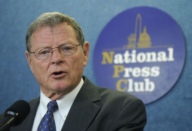 Sen. James Inhofe (R-OK) speaks at a news conference on the We Get It! campaign, which aims at uniting people behind Biblical perspectives on the environment and the poor, in Washington on May 15, 2008. The campaign denounces the widely held view that humans are speeding the effects of global warming and instead says that the attempts to counteract global warming are hurting the poor by raising the cost of energy and food while cutting jobs. (File/UPI Photo/Kevin Dietsch)