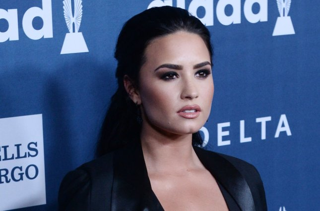 Demi Lovato at the GLAAD Media Awards on April 2. The singer fell onstage at WE Day on Thursday. File Photo by Jim Ruymen/UPI