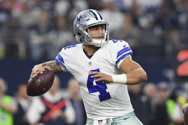 Dak Prescott and the Dallas Cowboys take on the Arizona Cardinals on Monday night. Photo by Shane Roper/UPI