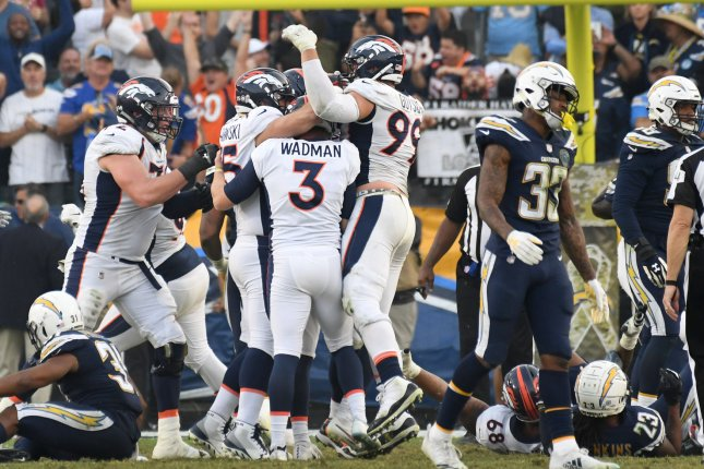 Los Angeles Chargers safety Derwin James (33) walks off after Brandon McManus' last-second field goal on Sunday at StubHub Center in Carson, California. Photo by Jon SooHoo/UPI