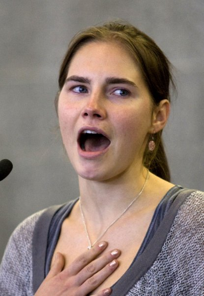 Amanda Knox makes a comment during a news conference held at the Seattle-Tacoma International Airport near Seattle, Washington on October 4, 2011. Knox arrived in the United States after an Italian appeals court threw out her conviction in the sexual assault and fatal stabbing of her British roommate. File Photo by Jim Bryant/UPI