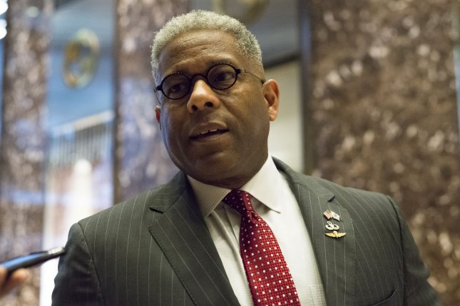 Allen West, a former member of the U.S. House, is seen in the lobby of Trump Tower in New York City on December 12, 2016. Donald Trump held meetings to fill posts for his administration. Pool photo by Albin Lohr-Jones/UPI