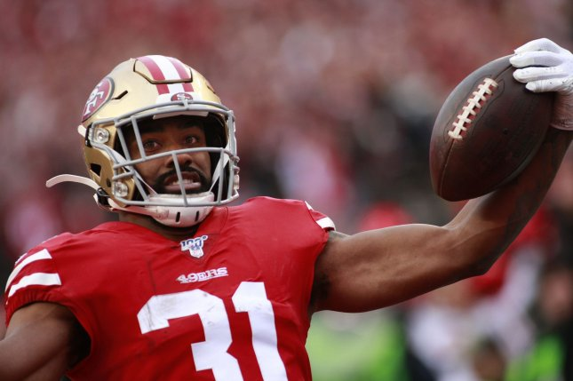 San Francisco 49ers running back Raheem Mostert, shown Jan. 19, 2020, suffered the knee injury during Sunday's game against the Detroit Lions. File Photo by Bruce Gordon/UPI