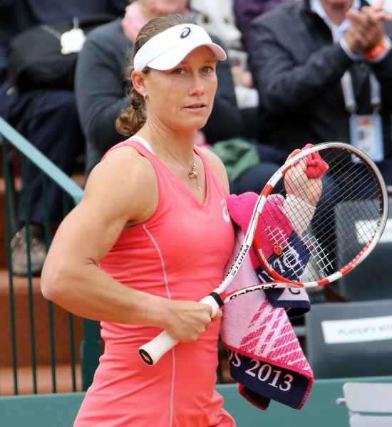Samantha Stosur, shown at the 2013 French Open, needed to win a third-set tiebreaker Monday before moving into the second round of the Hobart International tennis tournament,. Stosur is the No. 1 seed for the event. UPI/David Silpa