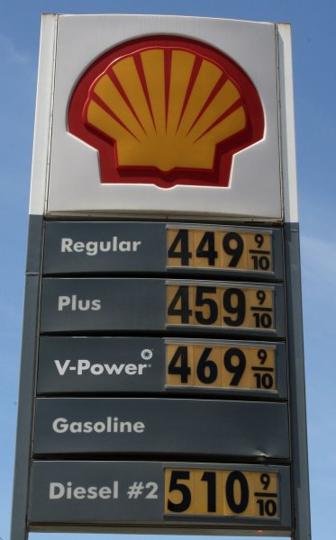 Gasoline prices are shown on a board at a Shell station on Bryant Street in San Francisco on May 27, 2008. (UPI Photo/Terry Schmitt)