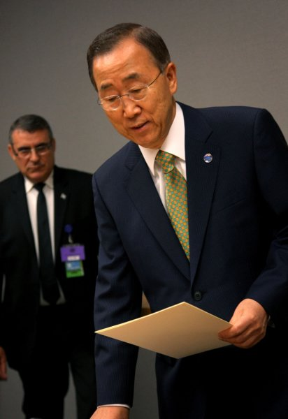 Secretary-General Ban Ki-moon, shown at the United Nations Sept. 23, 2011. Ban Ki-moon, on the birth of the 7 billionth person, said that such a large global population can be both an opportunity and a challenge. UPI/Monika Graff