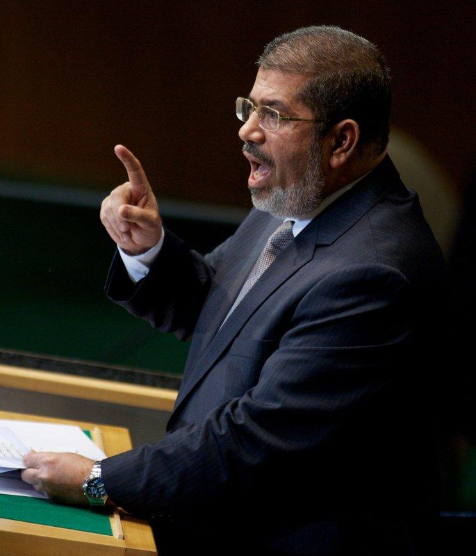 Mohamed Morsi, president of Egypt, addresses the 67th session of the U.N. General Assembly in New York Sept. 26, 2012. UPI/Monika Graff