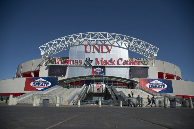 The Thomas and Mack Center is seen Tuesday one day before presidential debate between Republican presidential candidate Donald Trump and Democratic presidential candidate Hillary Clinton on the campus of the University of Nevada in Las Vegas, Nevada. The candidates are bringing drastically different people to the debate as their guests. Photo by Kevin Dietsch/UPI