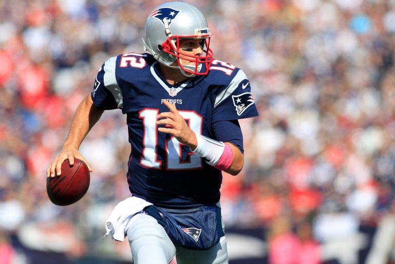 New England Patriots quarterback Tom Brady (12). Photo by Matthew Healey/ UPI