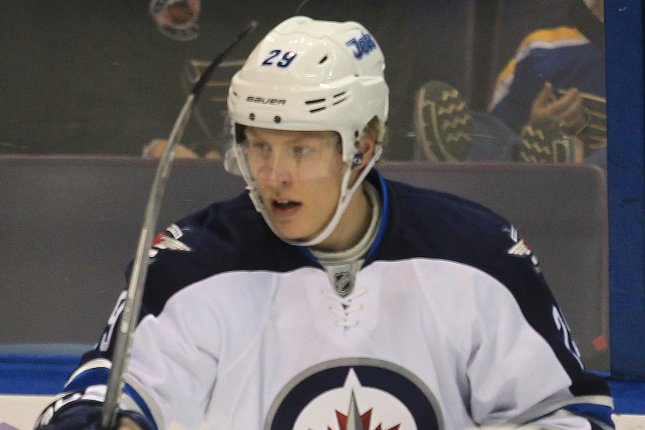 Patrik Laine and the Winnipeg Jets face the Florida Panthers in Finland on Friday. Photo by Bill Greenblatt/UPI