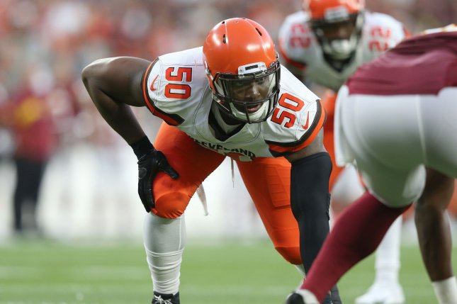 Cleveland Browns defensive lineman Chris Smith (pictured) and his girlfriend, Petara Cordero, had a daughter together last month. File Photo by Aaron Josefczyk/UPI