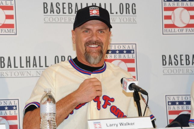 Larry Walker hit .313 with 383 home runs in 17 Major League Baseball seasons from 1989 through 2005. File Photo by George Napolitano/UPI