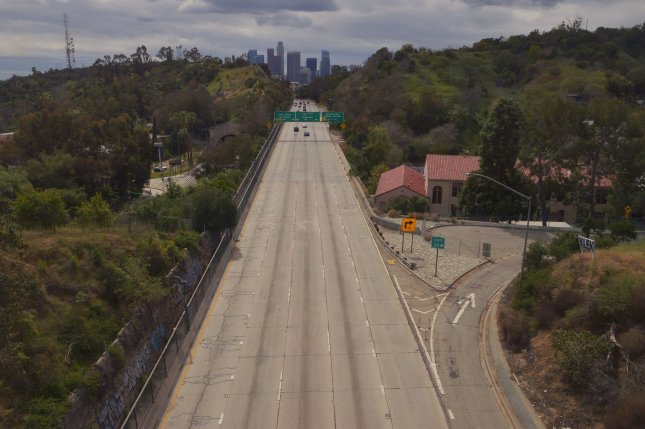 The 110 Harbor Freeway near downtown Los Angeles, Calif., is almost entirely void of traffic on March 22 due to stay-home restrictions spurred by the coronavirus outbreak. File Photo by Jim Ruymen/UPI
