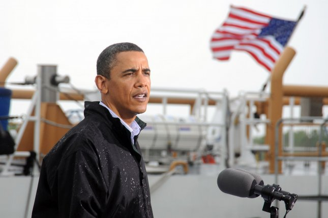 U.S. President Barack Obama addresses the media at Coast Guard Station in Venice, Louisiana on May 2, 2010. President Obama conducted a personal assessment of the aftermath of the explosion of a BP oil rig in the Gulf of Mexico, which continues to spill oil into the Gulf, threatening fisheries and beaches. UPI/Patrick Kelley/U.S. Coast Guard