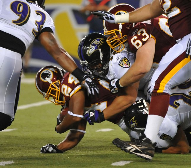 Washington Redskins' running back Marcus Mason (24) runs for a short gain against the Baltimore Ravens during the second quarter at M & T Bank Stadium in Baltimore on August 13, 2009. UPI/Kevin Dietsch