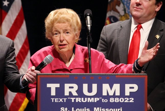 Longtime conservative spokeswoman and organizer Phyllis Schafly died at the age of 92 on Monday. Schafly is pictured speaking at a Donald Trump rally in St. Louis on March 11. File Photo by Bill Greenblatt/UPI.