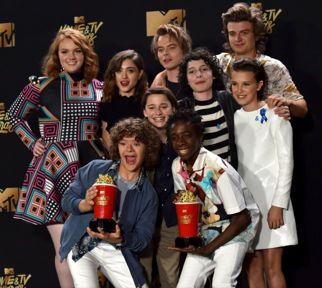 Cast of Stranger Things at the MTV Movie & TV Awards in Los Angeles on May 7. The trailer for Season 2 of the show has gotten nearly 3 million views since it was posted on YouTube Saturday. File Photo by Christine Chew/UPI