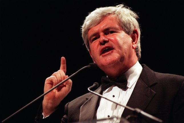 Speaker of the House Newt Gingrich addresses the 1996 Republican National Committee Gala January 24 in Washington, D.C. On November 8, 1994, in a stunning upset, Republican candidates swept the general election, regaining control of both chambers of the U.S. Congress. UPI File Photo