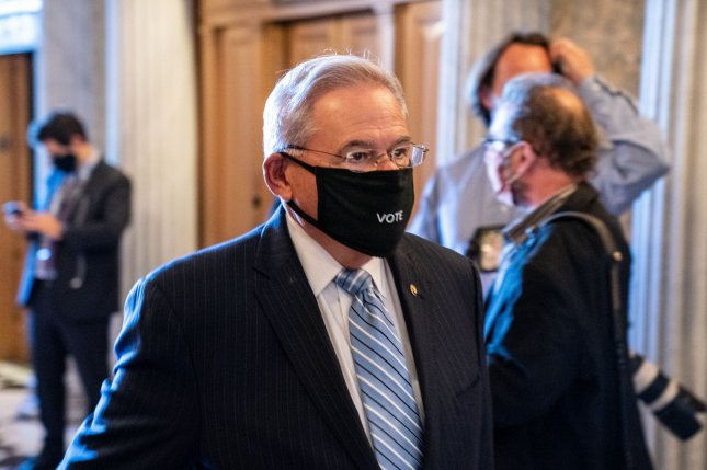 U.S. Sen. Bob Menendez, D-N.J., seen arriving at the Senate Chambers in September, is one of three senators that said Thursday they will introduce legislation to stop a series of weapons sales to UAE that was announced by the Trump administration last week. File Photo by Ken Cedeno/UPI