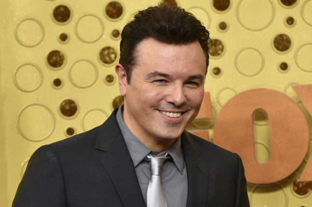 Seth MacFarlane appeared on Jimmy Kimmel Live and played a clip of hisFamily Guy PSA about getting the COVID-19 vaccine. File Photo by Christine Chew/UPI