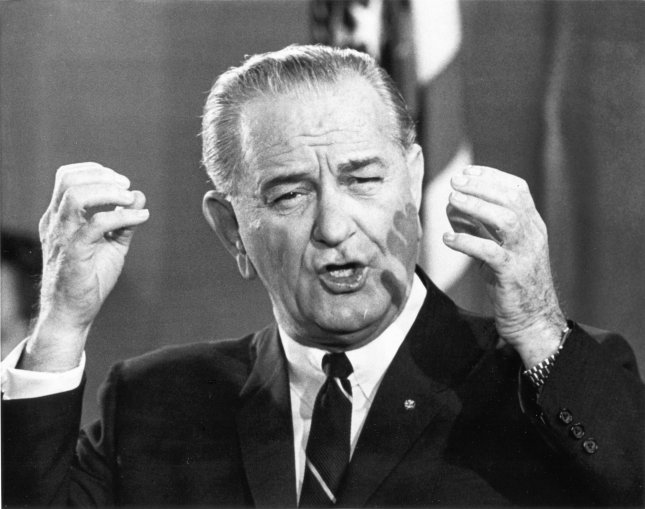 9bd769b66d42a President Lyndon B. Johnson shown during a nationality televised press  conference in the White House on November 17th