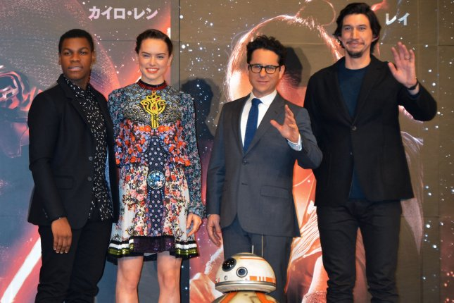 (L-R) John Boyega, Daisy Ridley, Director J.J. Abrams, and actor Adam Driver attend the press conference for Star Wars: The Force Awakens on December 11. 2015. The next entry in the series has an official title. File Photo by Keizo Mori/UPI