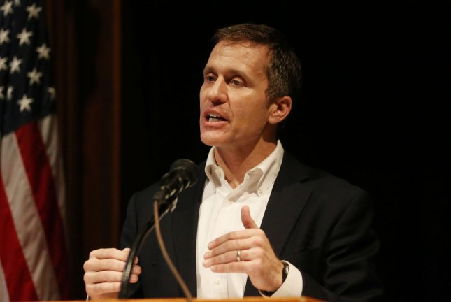 """Missouri Gov. Eric Greitens was indicted Thursday for felony invasion of privacy after a grand jury alleged he transmitted a nude photo of a woman he had an affair with """"in a manner that allowed access to that image via a computer. Photo by Bill Greenblatt/UPI"""