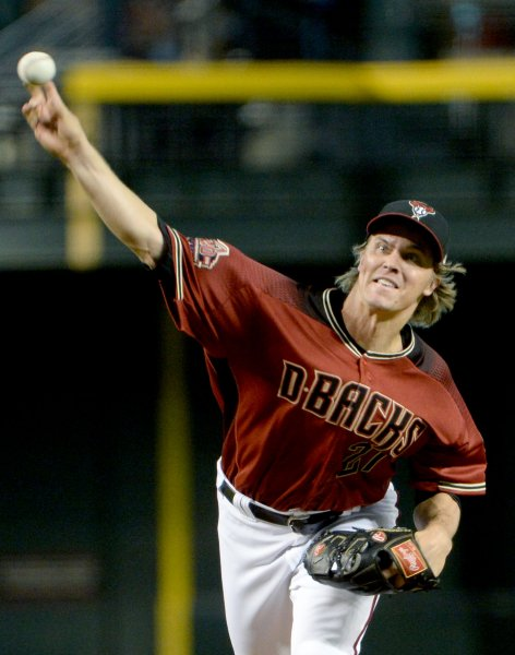 Zack Greinke and the Arizona Diamondbacks face the San Diego Padres on Sunday. Photo by Art Foxall/UPI
