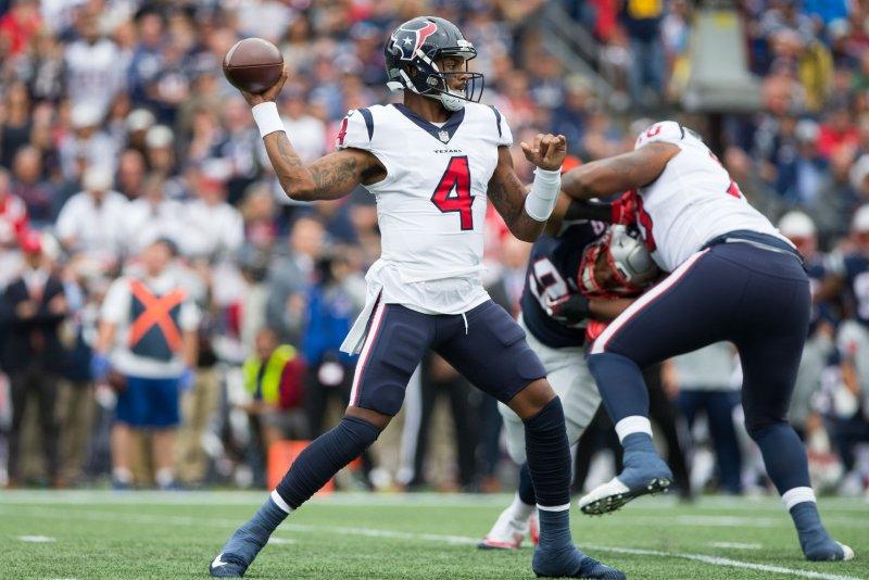 Houston Texans quarterback Deshaun Watson drops back to pass against the New England Patriots at Gillette Stadium in Foxborough, Massachusetts on September 9, 2018. Photo by Matthew Healey/UPI