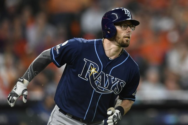Former Tampa Bay Rays utility infielder Eric Sogard had 13 home runs and 40 RBIs with the Rays and Toronto Blue Jays last season. File Photo by Trask Smith/UPI