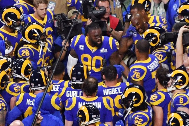 The Detroit Lions have agreed to acquire veteran defensive tackle Michael Brockers (90) in a trade with the Los Angeles Rams. File Photo by Jon SooHoo/UPI