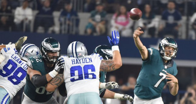 Philadelphia Eagles Sam Bradford throws against the Dallas Cowboys during the first half at AT&T Stadium on November 8, 2015 in Arlington, Texas. Photo by Ian Halperin/UPI