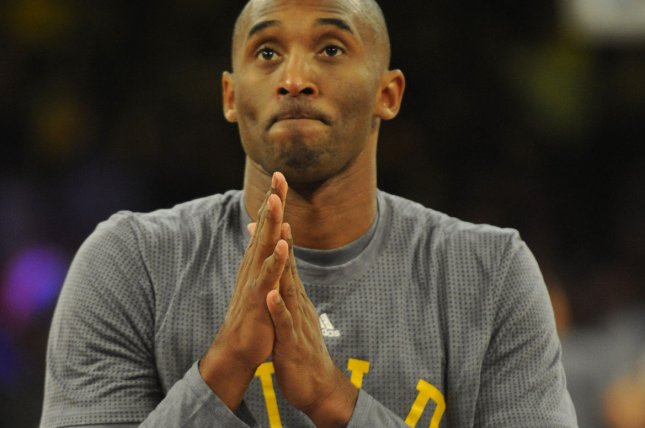 Los Angeles Lakers' Kobe Bryant warms up before the game against the Minnesota Timberwolves at Staples Center in Los Angeles on October 28, 2015. Photo by Lori Shepler/UPI