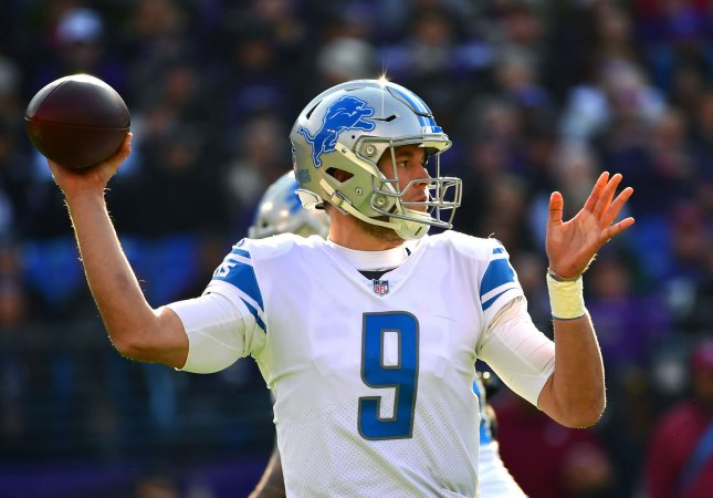 Detroit Lions quarterback Matthew Stafford is expected to play despite a swollen hand in Sunday's game against the Tampa Bay Buccaneers. Photo by Kevin Dietsch/UPI